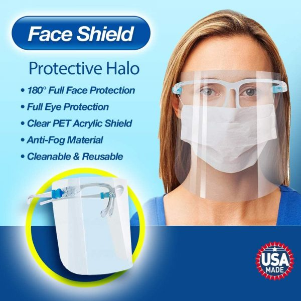 ArtToFrames Protective Face Shield 3 Pack, Made in The USA, Fully Transparent Face and Eye Protection from Droplets and Saliva with Reusable Glasses and Replaceable Shield, Anti-Fog