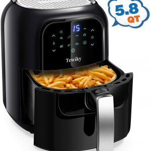 Tewiky Air Fryer, 5.8 Quart,1400 Watt 60 Minutes Digital Air Fryers Oven & Oilless Cooker for Air Frying,Roast. Bake,LED Digital Touchscreen with 7 Presets,Nonstick Basket